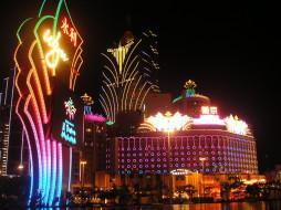 города, огни, ночного, иллюминация, здание, казино