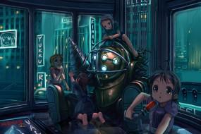 обои для рабочего стола 1600x1067 аниме, weapon, blood, technology, bioshok