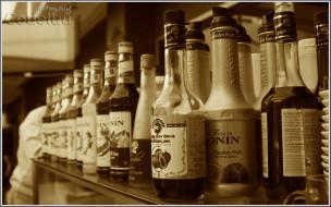 бренды, monin, сироп, изобилие, бутылки