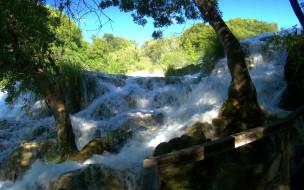 krka, waterfalls, хорватия, природа, водопады, деревья, водопад