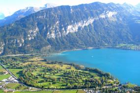 interlaken, switzerland, природа, побережье, горы, озеро