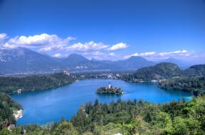озеро, блед, словения, города, церковь, деревья, горы