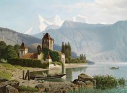 обои для рабочего стола 1600x1181 рисованные, theodor, nocken, швейцария, замок, оберхофен, на, озере, тун