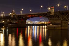 города, мосты, ночь, река, мост, огни, burnside bridge, portland, oregon
