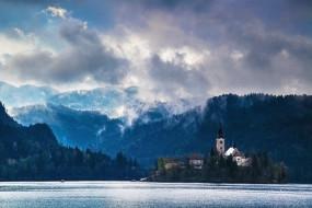 озеро, блед, словения, города, остров, лес, церковь, небо