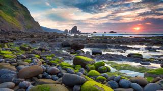 Beach обои для рабочего стола 1920x1080 beach, природа, побережье, море, пляж, камни, закат