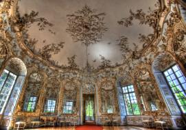 обои для рабочего стола 2048x1440 интерьер, дворцы, музеи, люстра, позолота, зал, роспись