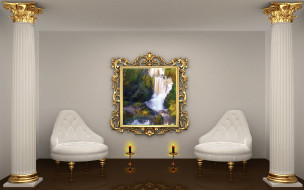 3д, графика, realism, реализм, свечи, картина, кресла, колоны
