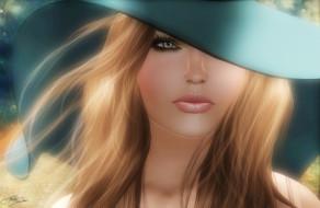 3д, графика, portraits, портрет, шляпа, волосы, девушка, лицо