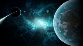 обои для рабочего стола 1920x1080 космос, арт, планеты, звезды, комета