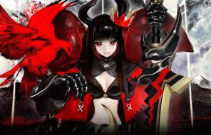 аниме, black, rock, shooter, меч, arcana, корона, птица, девушка, оружие, рога, gold, saw