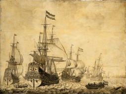 корабли, рисованные, парусники, море