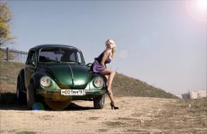 автомобили, авто, девушками, жук, volkswagen, beetle