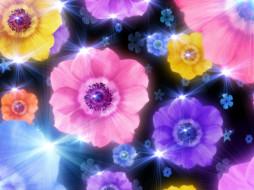 beauty, flowers, рисованные, цветы, сияние