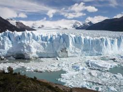природа, айсберги, ледники, ледник, лед, горы, небо