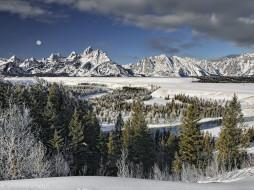 природа, зима, снег, луна, горы, деревья