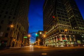 detroit, michigan, usa, города, огни, ночного, улица, дома, ночь