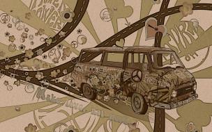 хиппи, векторная, графика, автобус, надписи