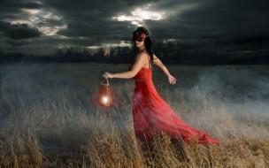 фэнтези, девушки, облака, маска, девушка, фонарь, поле, вечер, тату