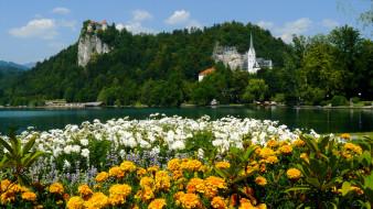 словения, блед, города, озеро, замок
