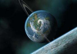 обои для рабочего стола 2560x1792 космос, земля, луна, спутник, звезды