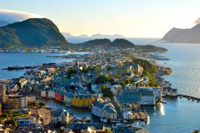 норвегия, олесунн, города, панорамы, дома, море, панорама
