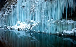 природа, зима, скала, вода