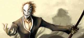 аниме, bleach, пустой, маска, zangetsu, hichigo, ichigo