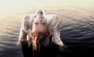 -Unsort Блондинки, девушки, unsort, блондинки, мокрая, вода, блузка