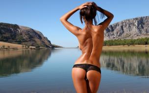 Ela Savanas, девушки, пейзаж, река, природа, попка