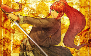 аниме, the, twelve, kingdoms, девушка, рыжая, зеленые, глаза, меч, катана