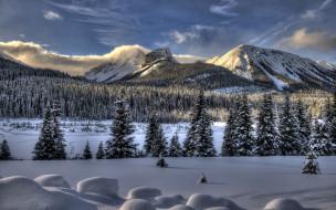 обои для рабочего стола 1920x1200 природа, зима, облака, лес, снег, горы