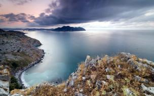 обои для рабочего стола 1680x1050 природа, побережье, океан, острова, облака, горизонт