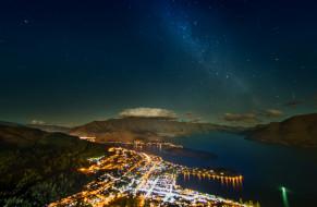 города, огни, ночного, побережье, ночной, город, новая, зеландия, звёздное, небо