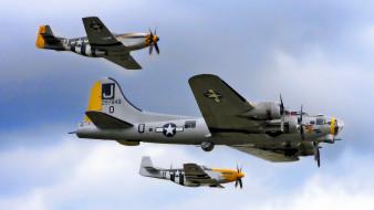 авиация, разные, вместе, бомбардировщик, сопровождение, полет, истребители