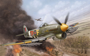 hawker, typhoon, авиация, 3д, рисованые, graphic, бомбардировщик, истребитель, британский, одноместный