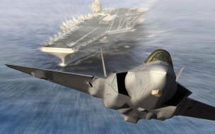 авиация, 3д, рисованые, graphic, авианосец, палубный, взлет, истребитель