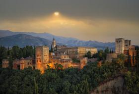гранада, испания, города, дворцы, замки, крепости, каменный, солнце