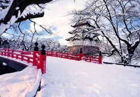 hirosaki, japan, города, замки, Японии, Япония, мост, снег, зима, замок, хиросаки