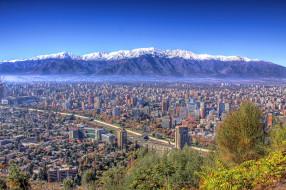 сантьяго, Чили, города, столицы, государств, панорама, крыши, горы