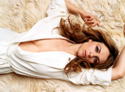 Elizabeth Hurley, девушки, белое, платье, мех, актриса
