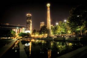 centennial, park, atlanta, сша, города, улицы, площади, набережные, фонари, ночь, парк