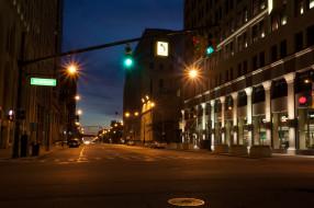 detroit, michigan, usa, города, огни, ночного, дома, улица, ночь