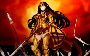 аниме, queen`s, blade, queens, закат, меч, девушка, annelotte, броня