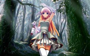аниме, suzuhira, hiro, artbook, фонарь, крылья, платье, лес, девушка