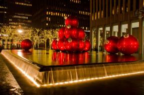 праздничные, новогодние, пейзажи, нью-йорк, гигантские, шары