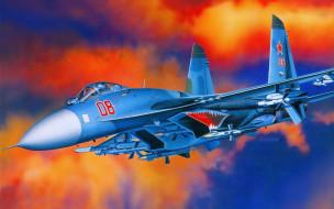 sukhoi, su, 27, flanker, авиация, 3д, рисованые, graphic, вооружение, истребитель, подвеска, ввс, россия