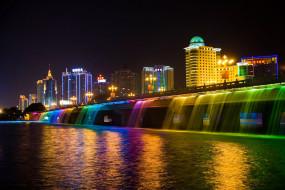 города, огни, ночного, гуанси