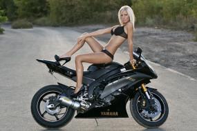 обои для рабочего стола 2000x1335 мотоциклы, мото, девушкой, yamaha