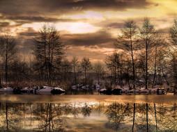 обои для рабочего стола 2408x1806 природа, реки, озера, деревья, озеро, закат, зима